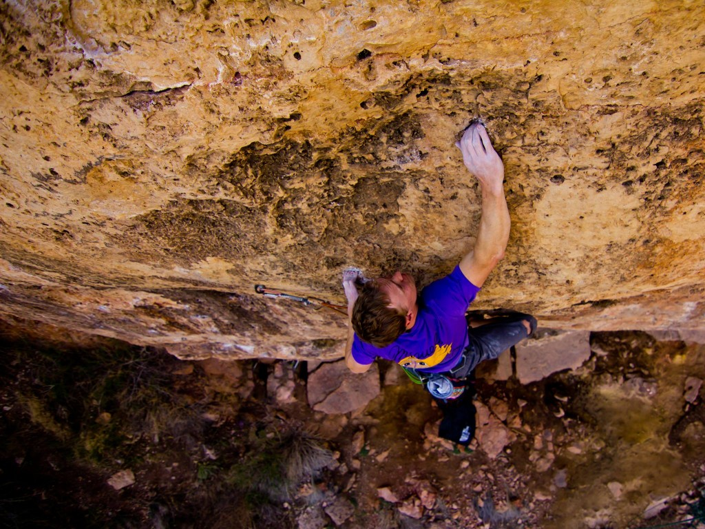 In the redpoint crux of My Generation (5.12d).