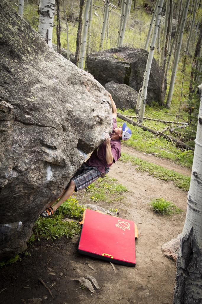 Nate warming up on the rad boulders in the old town dump.