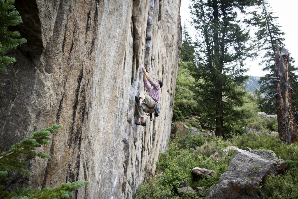 Nate on the stout power endurance test piece Scene of the Crime (5.12d). Tough as nails!