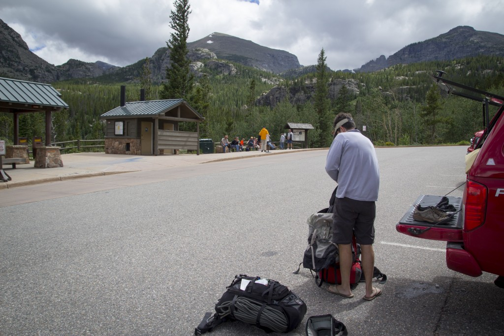 Andy with the finishing touches on the pack job before we head up valley.