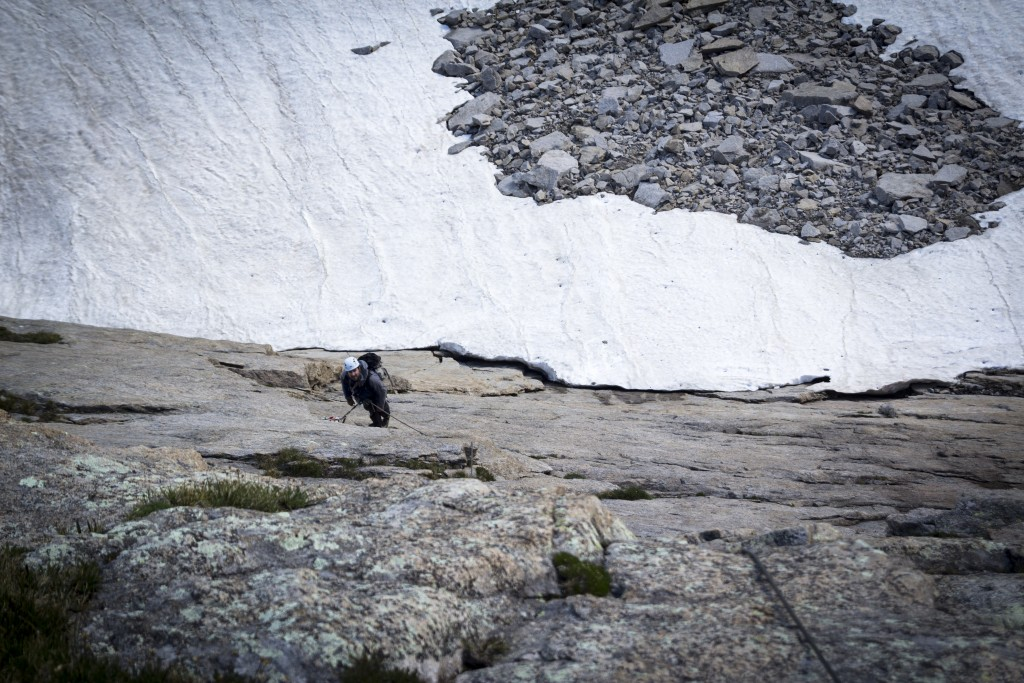 Scale is a bit weird, but Andy is already nearly 200 feet off the snowfield.