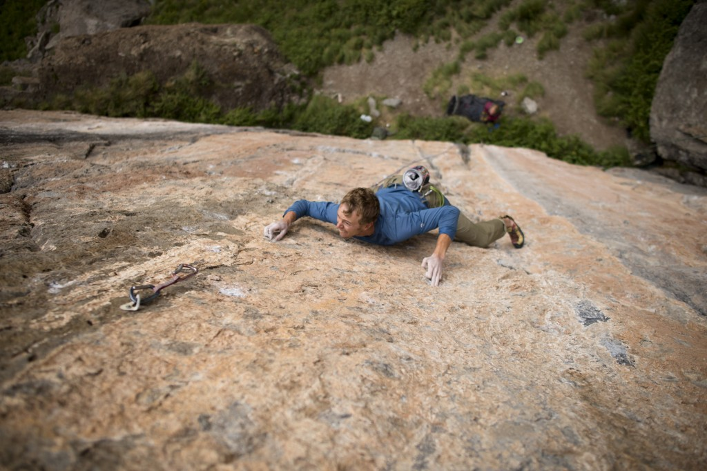 Cruxing on the send of Zootie Head (5.12d/5.13a) at the Creamy Salmon Wall, CO. Photo: Nate Liles