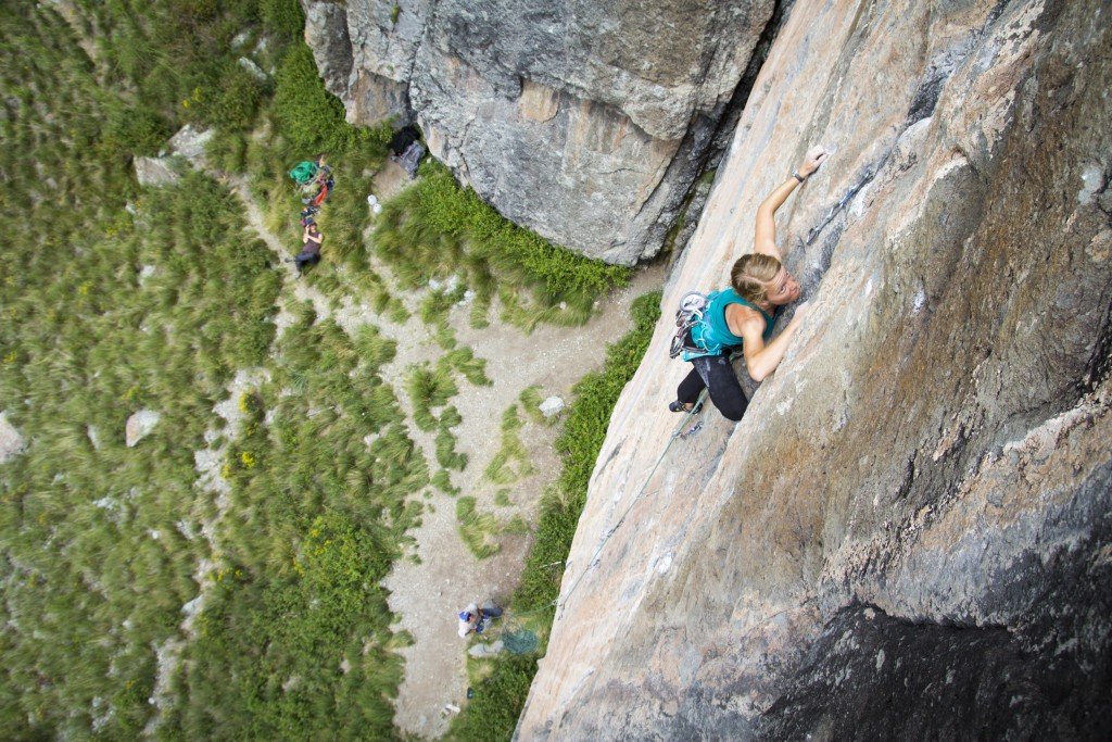 Robyn eyeing up the crux section of Bone Crusher (5.12a/b).