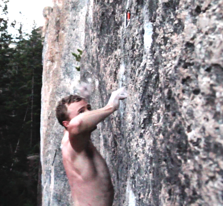 My left hand blowing off a crimp as I prepared to lunge through the last move guarding the chains of Blue Light Special (5.13a/b).
