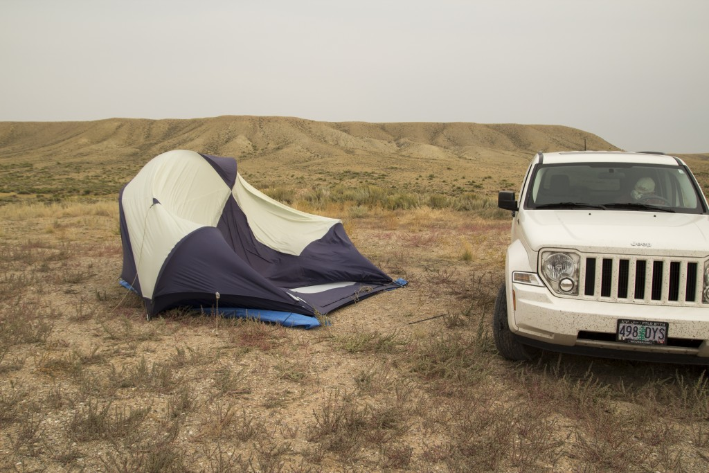 Fred's tent didn't make it out alive. High winds on the Wyoming plains.