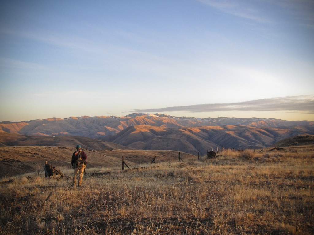 My dad and I on a chukar hunt on a beautiful winter day in Eastern Oregon.