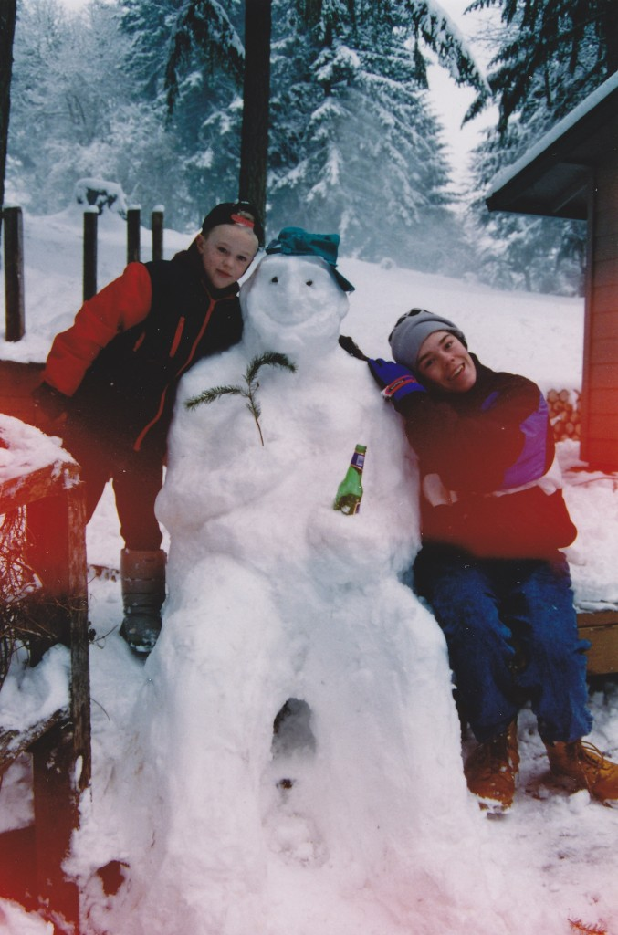 Building a pretty life-like snowman with my brother Jesse at our house on Parrot Mountain in Sherwood, Oregon. I'd guess that I was 10 and Jesse was 16 or so in this photo.