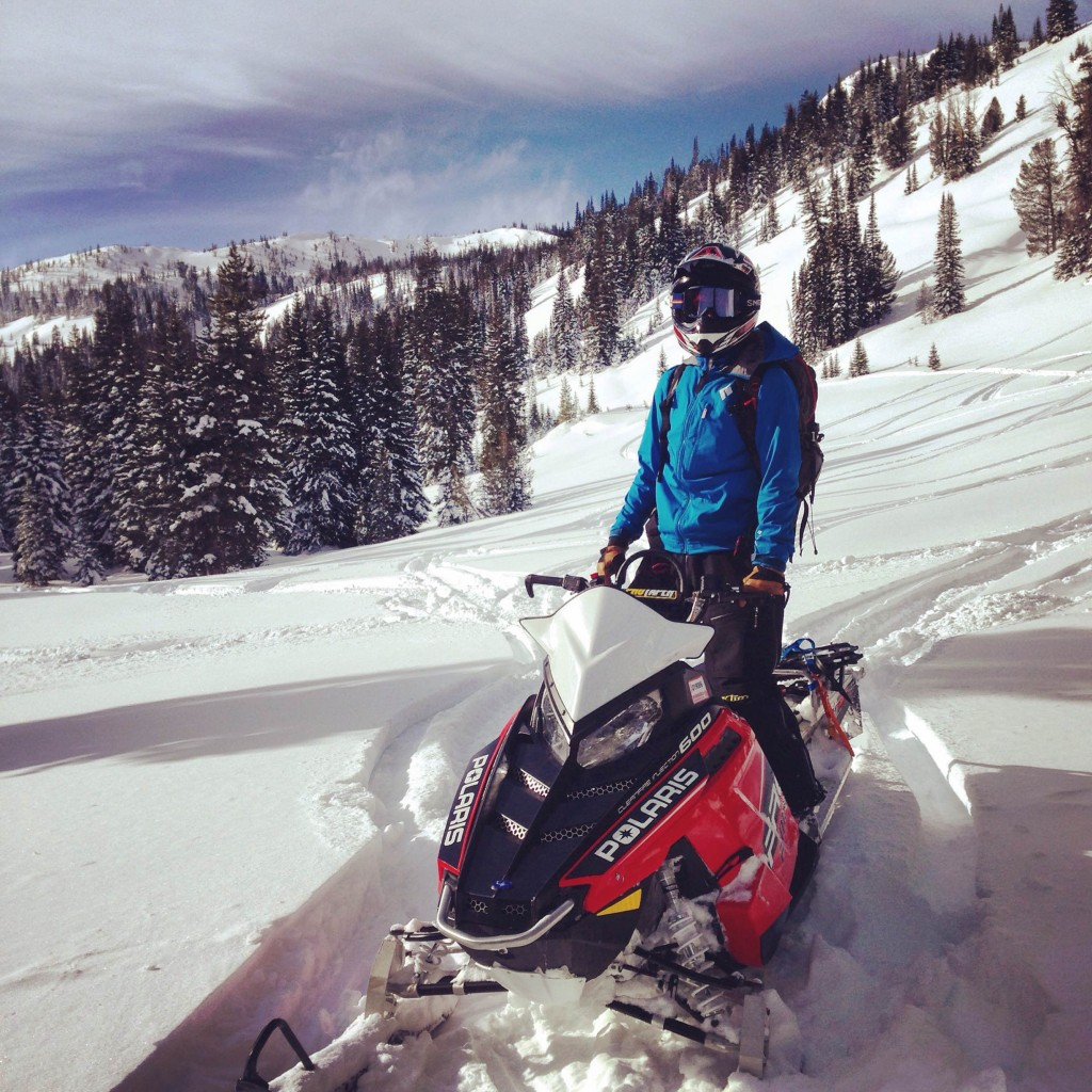 One Ethan's goals for the season is to get comfortable on a snowmachine. This was his first day out in the Sawtooth's!
