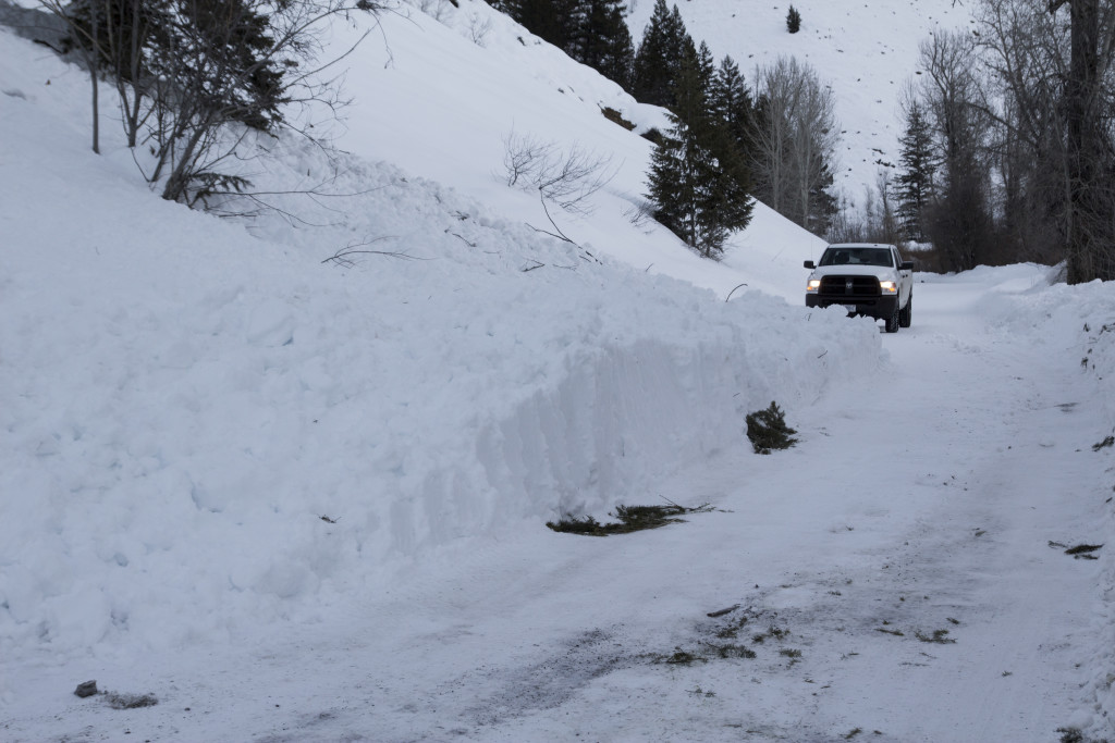 This was one of several avalanches that crossed Warm Springs road out past the ski area.