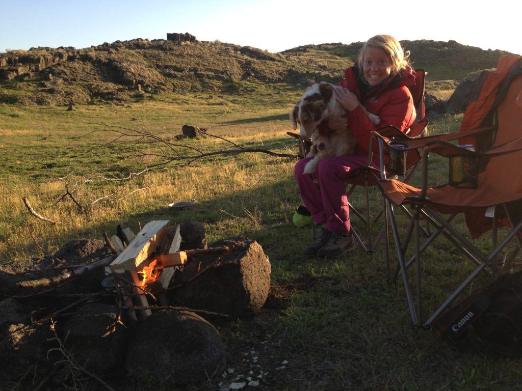 Robyn and Chossy at our first campfire of spring!
