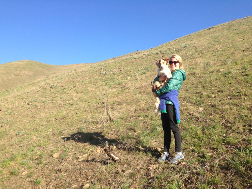 Robyn and Chossy on a walk up Carbonate behind our house.